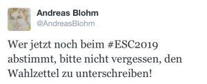 """Tweet vom 18. Mai 2019: """"Wer jetzt noch beim #ESC2019 abstimmt, bitte nicht vergessen, den Wahlzettel zu unterschreiben!"""""""